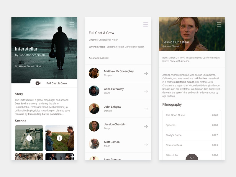 Movie App navigation rebound entretnement netflix film layout mobile director movie sketch ux website clean white ios interface muzli app ui