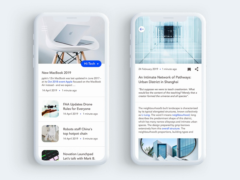 Tech News App news app news feed news journalism blog ui design app science technology publishing magazine sketch mobile white layout interface ios clean newspaper article