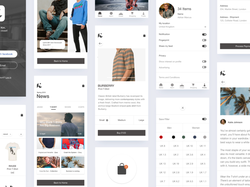 Kim - app design white cards setting shoes ecommerce news uidesign planning organize shopping startup agile project fashion layout interface