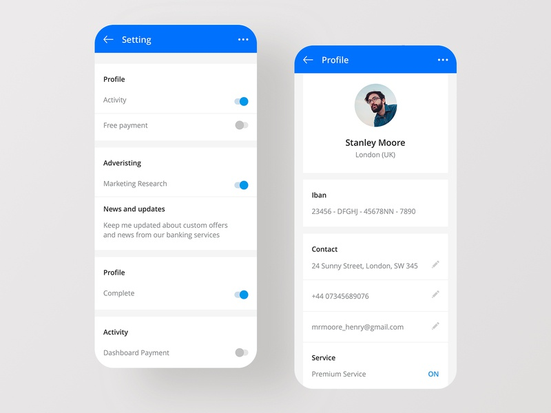 User profile and Setting - Daily UI #06-07 native dashboard app card android ios mobile account market statistics trading financial user profile layout fintech setting dailyui profile banking