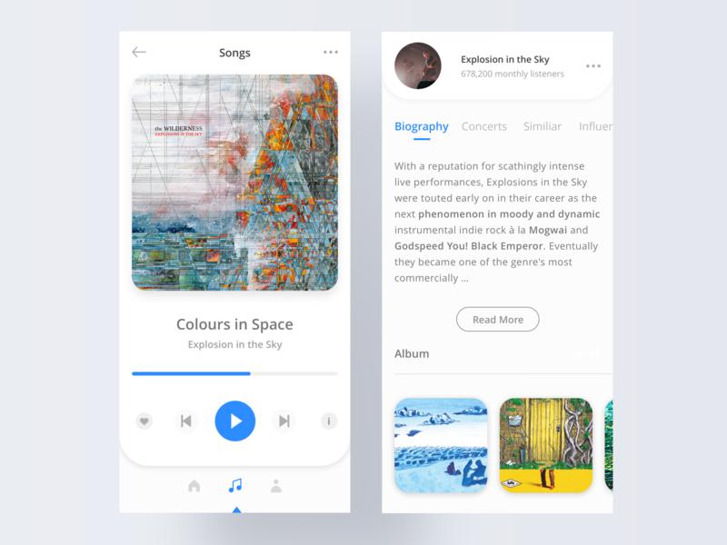 Music player - Daily UI #09 audio challenge songs concept white clean uidesign album post rock dailyui music app app ios player music ui