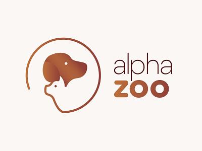 """Alpha Zoo"" Pet Shop Logo illustration zoo alpha gradient brown cat icon illustrator shop pet dog vector branding logo"