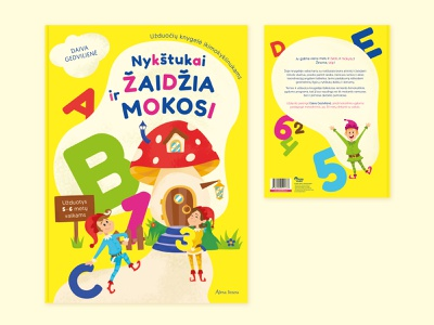 ''Playing And Learning Dwarfs'' Book For Children design vector yellow fairytale mushroom letters numbers dwarf playing learning illustration publishing children book cover layout design