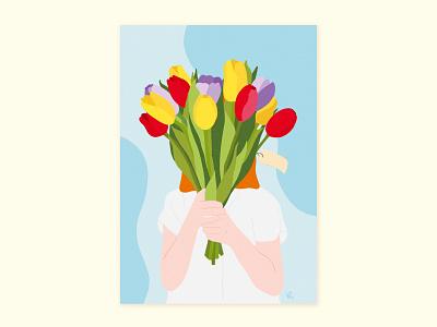 Happy B-day digital poster contrast pastel colors texture photoshop postcard print woman portrait woman ginger tulips bouquets autodesk illustration