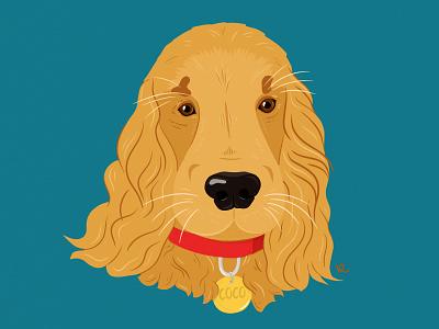 Coco commision illustrator drawing photoshop furry head brown animal cute infinite painter vilnius lithuania ginger illustration english cocker spaniel dog portrait