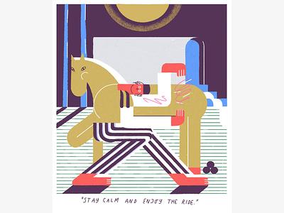 stay calm and enjoy the ride! goldenhorse digital illustrator horse illustrations 2d design vector illustrator cc illustrator illustration illustrate adobe