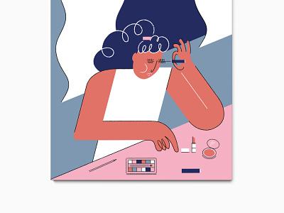 Get Ready curls makeup artist makeup design illustrate art adobe 2d character 2d vector illustrator cc illustrator illustration