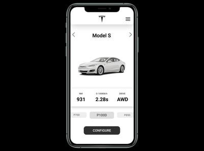 Tesla online shopping app UI
