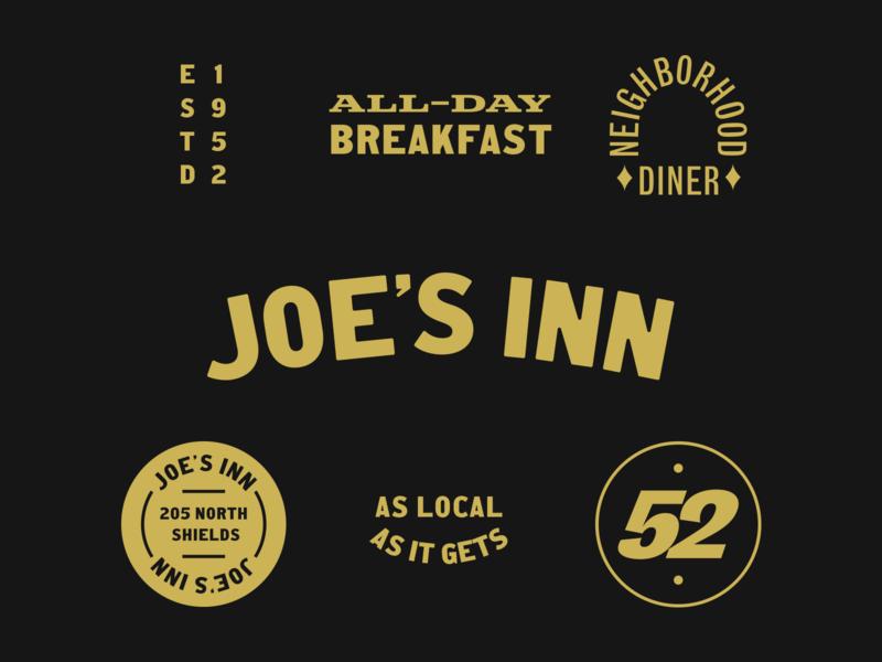 Joe's Inn vintage diner food logo restaurant branding