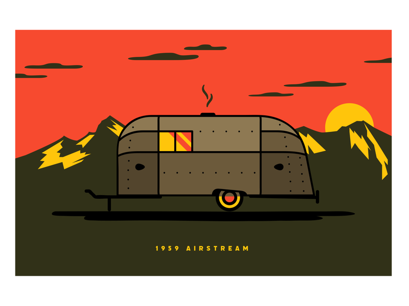 1959 Airstream sunset illustration mountains outdoors van camper airstream