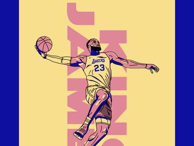 Lebron James lakers nba basketball illustration lebron james
