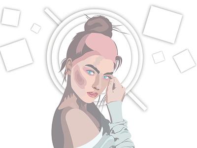 Vector Girl face designs color cartoon vector illustrator animation illustration design art