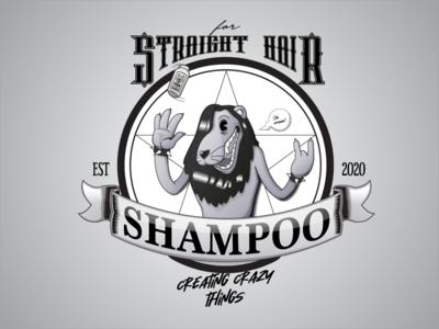 Shampoo for Straight Hair logo creative character cartoon typography characterdesign design vector illustration