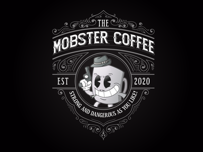 The Mobster Coffee coffee shop coffee cup coffee logo drawing creative character cartoon typography characterdesign design vector illustration