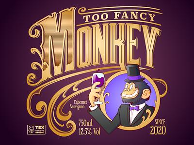 Too Fancy Monkey wine label logo drawing creative character cartoon typography characterdesign design vector illustration