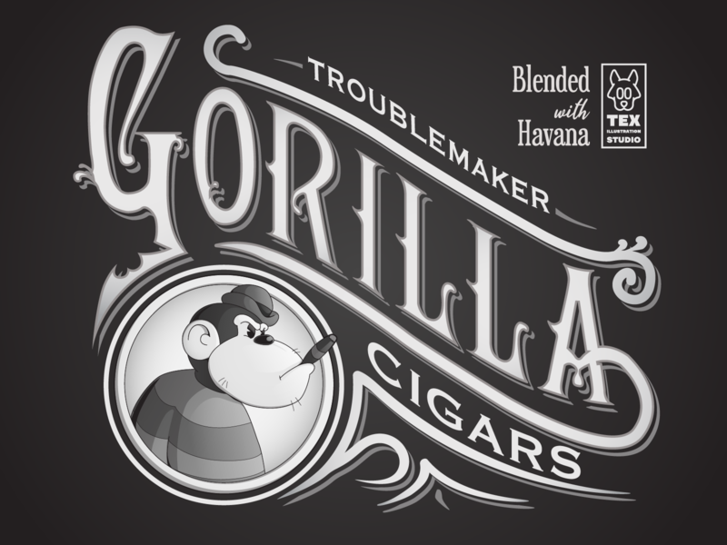 Troublemaker Gorila label packaging cigars labeldesign label creative logo character cartoon typography characterdesign design vector illustration