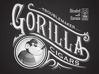 Troublemaker Gorila label packaging cigars labeldesign label creative logo character cartoon typography characterdesign design vector illustration
