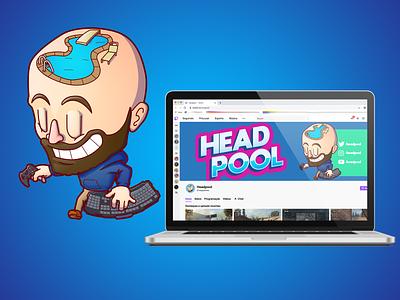 Headpool Branding lettering branding logo creative character cartoon typography characterdesign design vector illustration