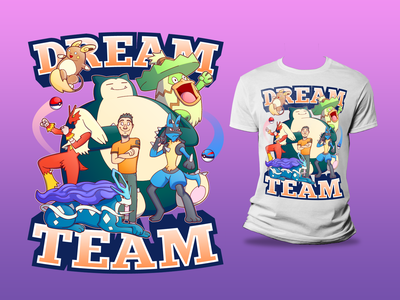 Pokemon Dream Team T-Shirt tshirt creative character cartoon typography characterdesign design vector illustration