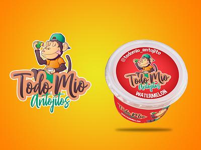 Logo Todo Mio Antojitos label logo creative character cartoon typography characterdesign design vector illustration