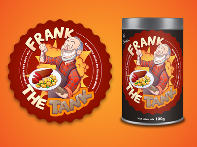 Frank the Tank Incredible Spices! label logo creative character cartoon typography characterdesign design vector illustration