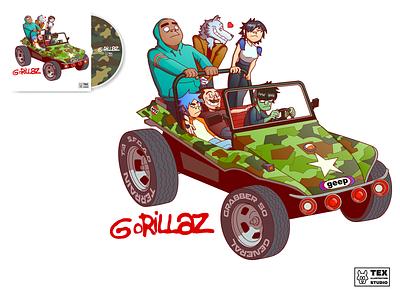 Gorillaz Fan Art album cover album logo drawing creative character cartoon typography characterdesign design vector illustration