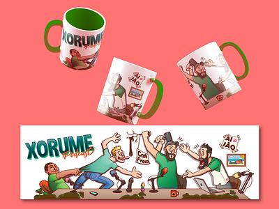 A Mug for The Xorume Podcast! comedy podcast mug logo creative character cartoon typography characterdesign design vector illustration
