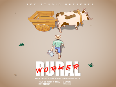Rural Worker movies movie drawing creative character cartoon typography characterdesign design vector illustration