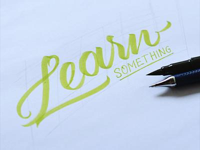 Learn Something typography lettering brushpen fonts font majestype logo identity wordmark brush lettering hand lettering script