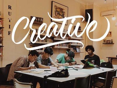 Creative Team! typography lettering brushpen fonts font dexsarharry majestype logo identity wordmark brush lettering hand lettering