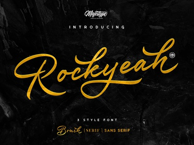 Rockyeah Script typography calligraphy fonts logo retro lettering