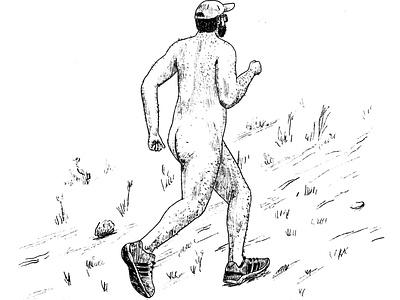 Naturism nudism natureboy trekking nude naked running runner illo freelancer dailydrawing dailynoundrawing editorial illustration sketch procreate process line drawing illustration nature