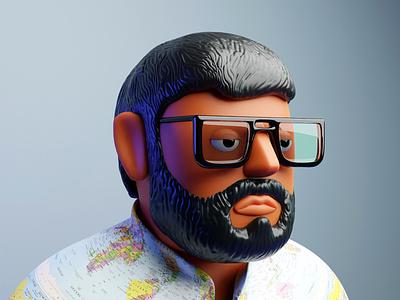 self portrait with shirt self portrait 3d model 3d illustration blender animation graphic design 3d digital drawing illustration