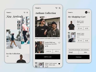 Vinnie's | Fashion Shopping App Concept shopping app user inteface fashion app ui design cart ecommerce design app designer mobile app store app design app minimal design branding ui