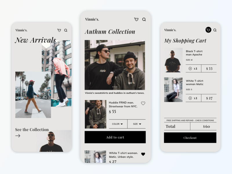 Vinnie's | Fashion Shopping App Concept shopping app user inteface fashion app ui design cart ecommerce design app designer mobile app store app design app minimal design branding ui