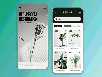 Glowroom // Decoration Shopping App Concept user interface design ecommerce design shopping app user inteface ui design mobile ui minimal design branding app design app