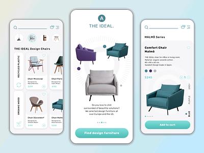 THE IDEAL // Shopping App Concept - Design Furniture ui design daily wireframing branding logo cart app designer user inteface ui design shopping app mobile minimal ecommerce design app design