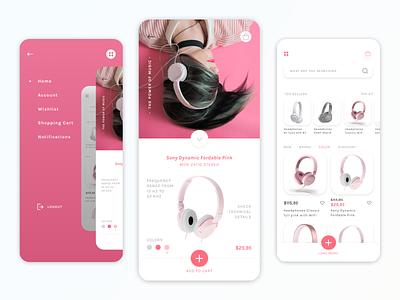 Shopping App for Headphones high fidelity technology shopping app ui design ui app designer user inteface branding mobile minimal ecommerce design app design