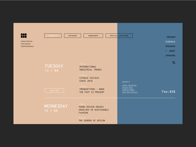 Schedule Page - Web for Design Festival user inteface clean minimal design editorial design clean ui ui branding ui design