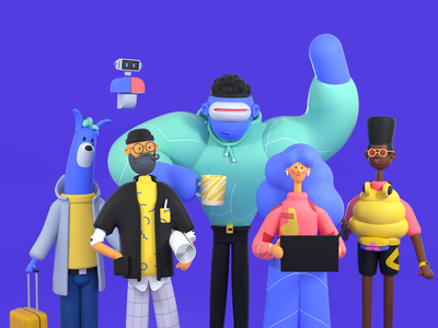 Polywork Crew crew agency workplace c4d octane characterdesign character colors startup branding illustration 3d