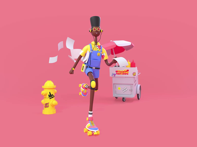 Back to the 90's roller skate retro octane c4d render colorful color branding 90s illustration characterdesign character 3d