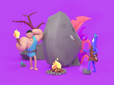 Stone Age stoneage c4d octane illustration colorful color characterdesign character characters 3d