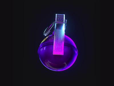 Powder App : 🙂 Grenade octane c4d lights neon lights neon grenade videogames animation 3d