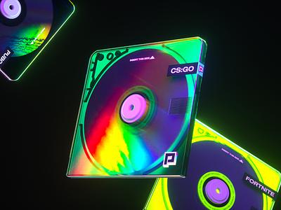 Powder App : 💿 Recordable Disc colors animation branding gaming tech neon minidisc color octane illustration c4d 3d