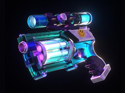 Powder App : 🔫 Gun neon light neon branding render octane color illustration c4d 3d