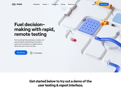 Maze Rebranding : Website Homepage color branding redesign ux ui uidesign homepage ui layout website c4d octane 3d loop animation illustration homepage