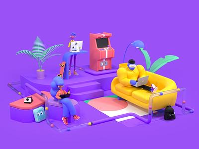 Polywork Office scene character animation render color octane illustration 3d c4d