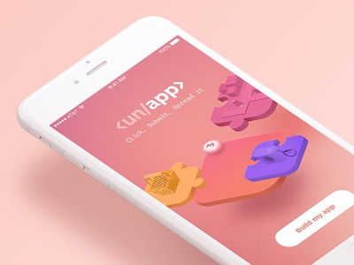 Unapp - App builder gradients colors isometric illustration splashscreen splash screen app