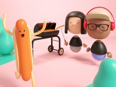 The Interview : BBQ Party ueno team interview bbq hotdog cute characters render octane c4d 3d