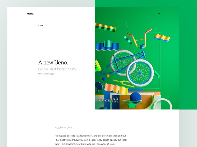 Ueno News : Detail page web ui news layout article grid design